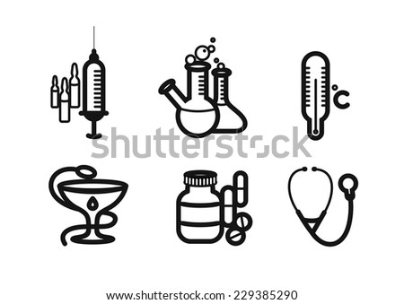 Icons black color set with syringe, thermometer, pills, stethoscope on white background - stock vector