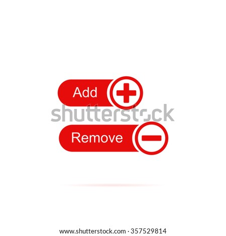 "Icons buttons ""add"" and ""remove"". - stock vector"