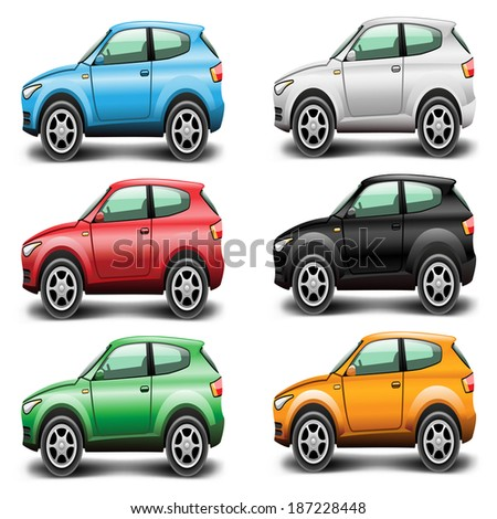 Icons Car SUV of different colors on a white background. Vector illustration. - stock vector