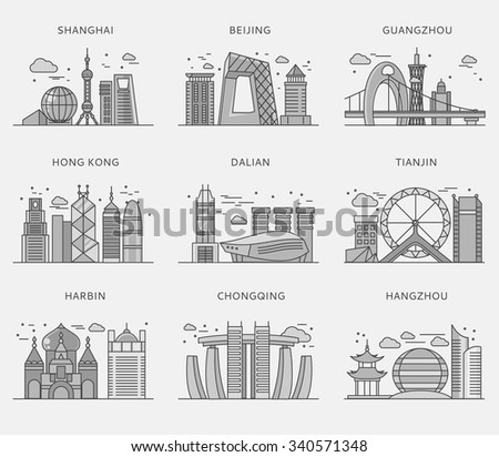 Icons Chinese major cities flat style. Shanghai and china, Beijing and Guangzhou, Hong Kong and Dalian, Tianjin and Harbin, Chongqing and Hangzhou illustration. White black - stock vector