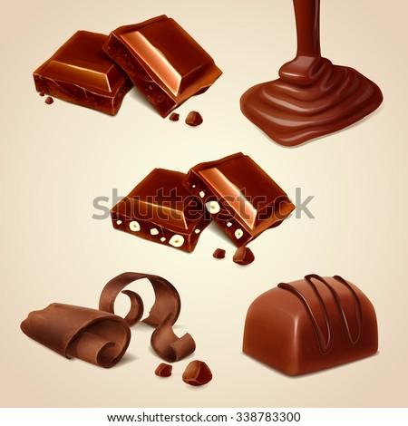 icons chocolate - stock vector