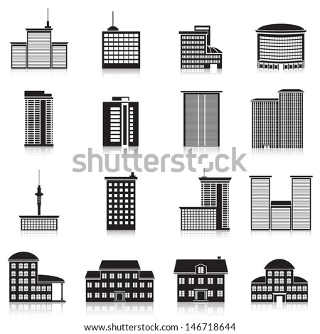Icons city buildings, offices, schools. - stock vector