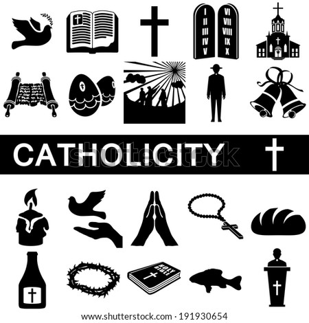 Icons collection for catholicity on white background - stock vector