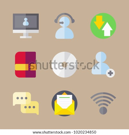 icons Communication with video chat, add user, disc, letter and wifi