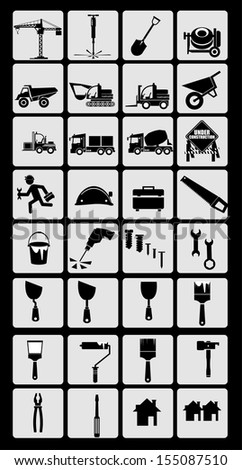 Icons construction - stock vector