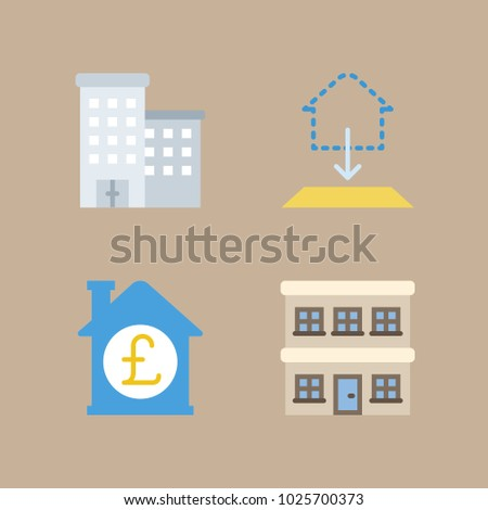 Icons construction building blueprint buildings house stock vector icons construction with building blueprint buildings and house malvernweather Images