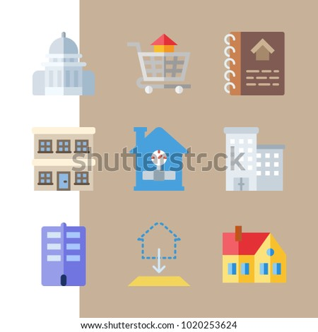 Icons real estate flats carrier house stock vector 1025685889 icons construction with house carrier blueprint capitol building and home malvernweather Gallery