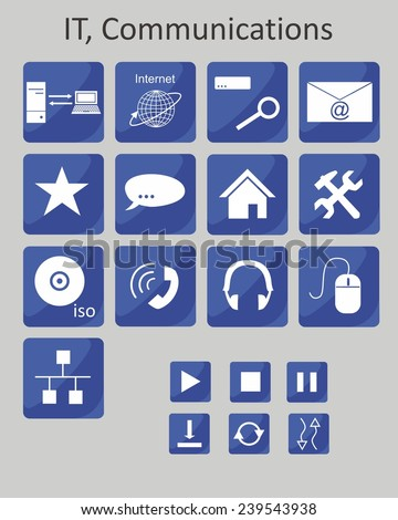 Icons dedicated to information technology and communication. - stock vector