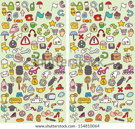 Icons Differences Visual Game. Task: find 10 differences! Solution in hidden layer (vector file only). Illustration is in eps8 vector mode! - stock vector