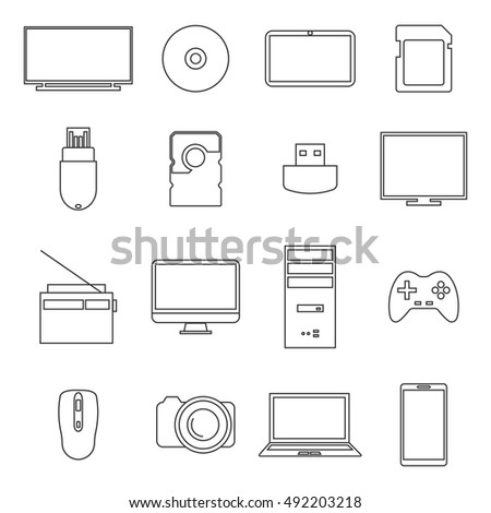 Icons digital devices of thin lines isolated on white background, vector illustration.