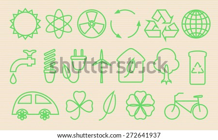 Icons. Ecology, Recycling, environmental protection. Vector.