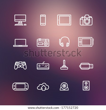 Icons electronic devices and vector background - stock vector