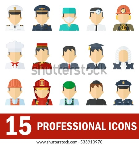 Icons female professions. Business man, industry and services, law-enforcement and judge. Templates with friendly happy faces for infographic, sites. banners, social networks. Flat vector icons.