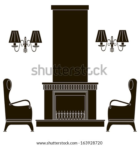 icons fireplace, chair, lamp - stock vector