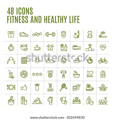 Icons Fitness and Yoga - stock vector