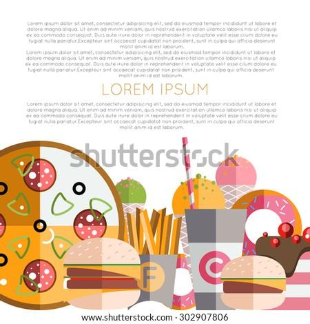 Icons Food Symbols Fast Food Restaurants Stock Vector 302907806