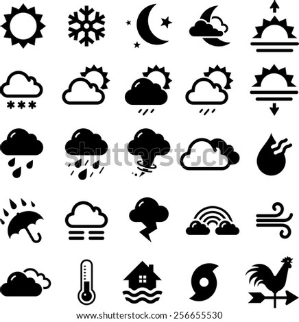 Icons for all seasons and weather forecasts. Vector icons for digital and print projects. - stock vector