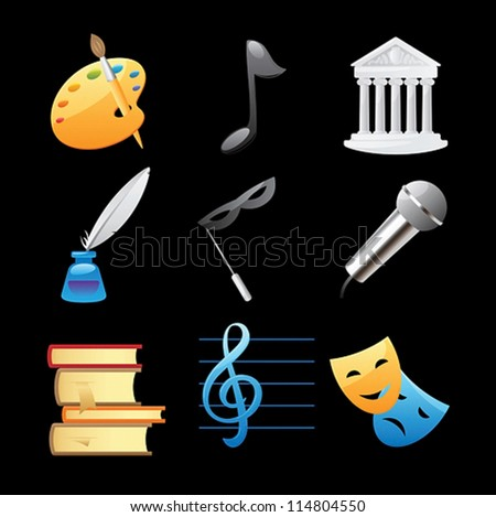 Icons for arts: fine arts, music, architecture, poetry, literature, theater. Vector illustration. - stock vector