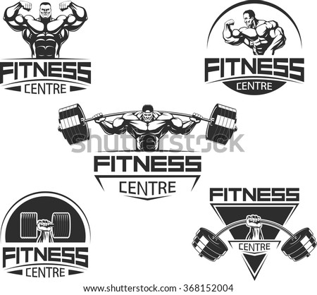 Icons for bodybuilding and fitness - stock vector