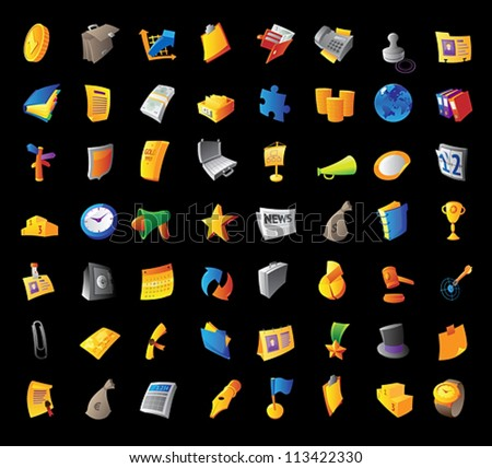 Icons for business, finance and office items. Black background. Vector illustration.