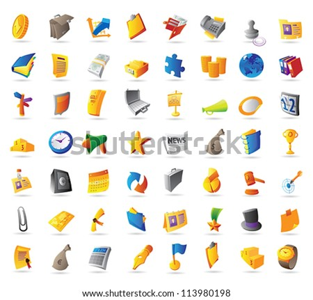Icons for business, finance and office. Vector illustration. - stock vector