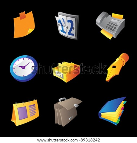 Icons for business office on black background. Vector illustration. - stock vector