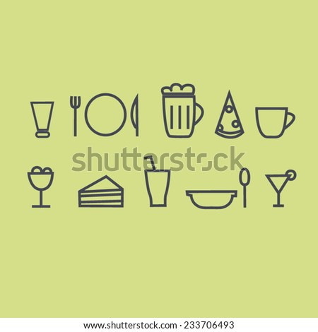 Icons for cafe and restaurant, food and beverage, icon set, dish and drink vector, illustration, set of food icons