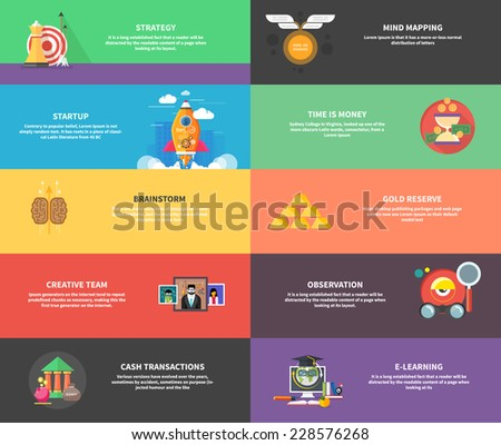 Icons for cash transactions, headwork, strategy planning, business tools start up observation creative team mind mapping brainstorm e-learning time is money. Concept of different icons in flat design - stock vector