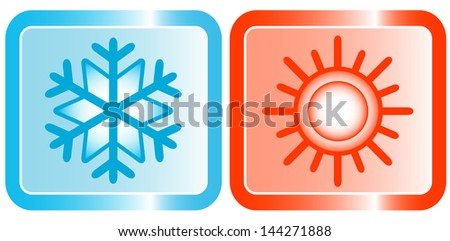 icons for conditioners topic - snowflake and sun  - stock vector