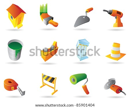 Icons for construction industry and tools. Vector illustration. - stock vector