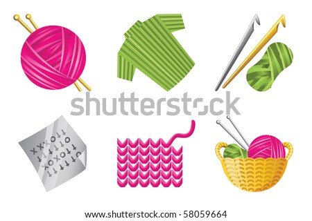 Icons crochet knitting hobby include yarn stock vector royalty free icons for crochet and knitting hobby include yarn cardigan crochet hooks ccuart Image collections