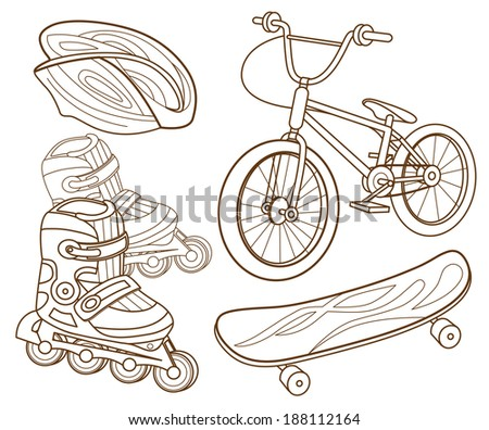 Icons for extreme skiing - stock vector