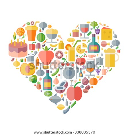 Icons for food and drink arranged in heart shape. Vector illustration. - stock vector