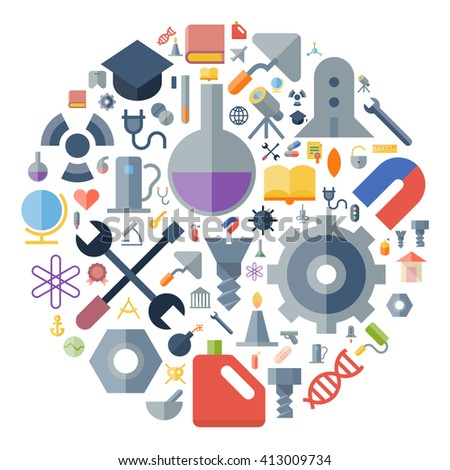 Icons for industrial and science arranged in circle. Vector illustration. - stock vector