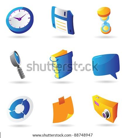 Icons for interface. Vector illustration. - stock vector