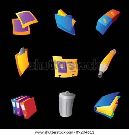Icons for office, black background. Vector illustration. - stock vector