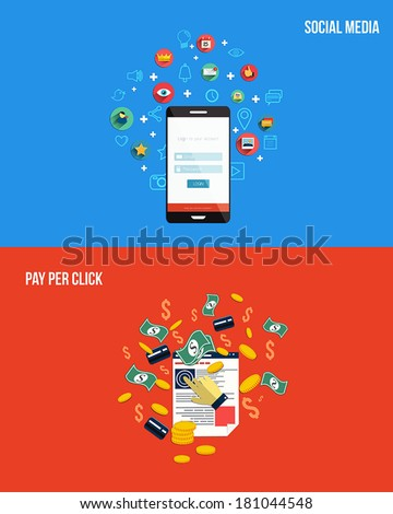 Icons for pay per click and social media. Flat style. Vector - stock vector