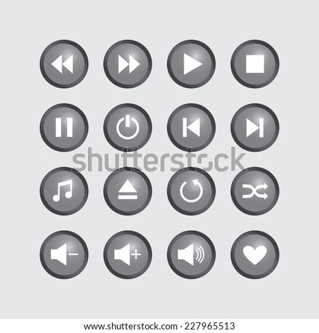 Icons for player on gray buttons.