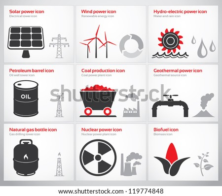 Icons for renewable and non-renewable energy sources: solar, wind, water, petroleum, coal, geothermal, gas, nuclear and biofuel. - stock vector