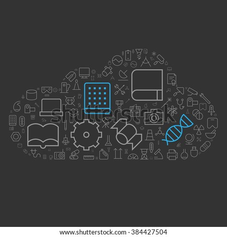 Icons for science, technology and industrial arranged in cloud shape. Vector illustration. - stock vector