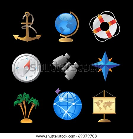 Icons for sea travel. Vector illustration. - stock vector