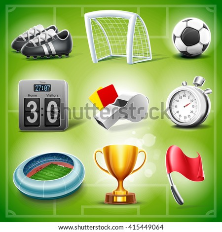 icons for soccer - stock vector