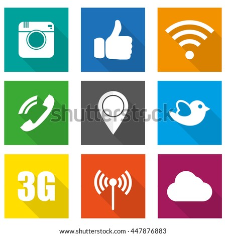 Icons for social networking vector illustration in flat design
