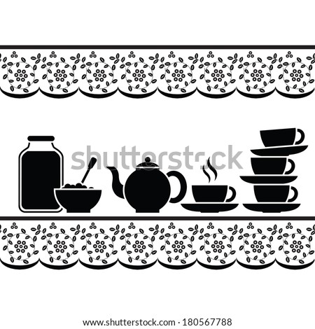 Icons for tea with jam. Tablecloth with stylized embroidery ornament. Black and white graphics. - stock vector