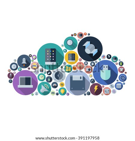 Icons for technology and electronic devices arranged in cloud shape. Vector illustration. - stock vector