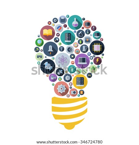 Icons for technology, industrial and science arranged in light bulb shape. Vector illustration. - stock vector