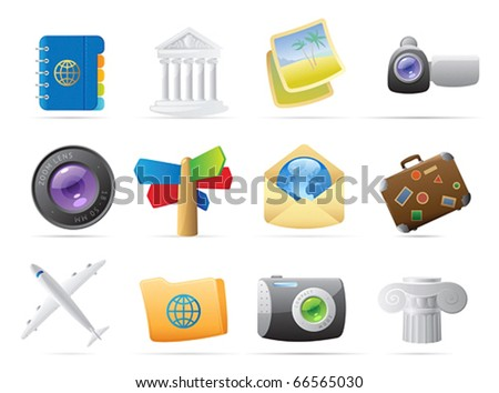 Icons for travel. Vector illustration. - stock vector