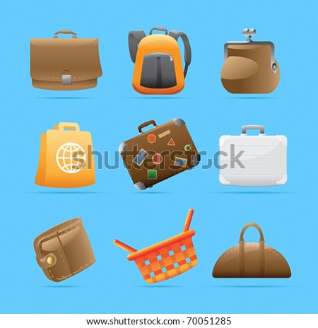 Icons for various bags. Vector illustration.