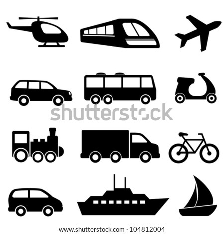 Icons for various means of transportation - stock vector