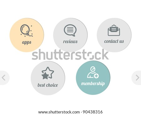 Icons for web - apps and  reviews,contacts and best choice and membership - stock vector